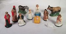 Vintage Christmas Chalkware Nativity Figures & Animals Lot of 11 Plaster Pieces