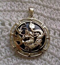 CHINESE DRAGON STERLING SILVER AND ONYX ROUND NECKLACE PENDANT
