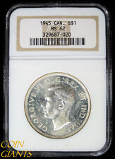 1945 Canada Silver Dollar $1 George VI NGC MS 62 Uncirculated BU Canadian Coin