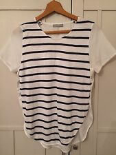 Zara White And Blue Striped Top Size Small T-shirt Nautical