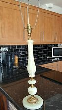 Beautiful Vintage Italian Onyx Marble & Polished Brass Table Lamp-Stand