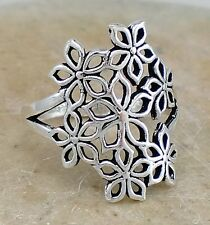 BEAUTIFUL 925 STERLING SILVER MULTI FLOWER RING size 10  style# r2336