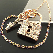 A389 GENUINE REAL 18K ROSE G/F GOLD DIAMOND SIMULATED PADLOCK KEY PENDANT CHAIN