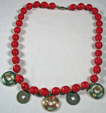 Cinnabar vintage beads, cloisonne and Chinese coins necklace