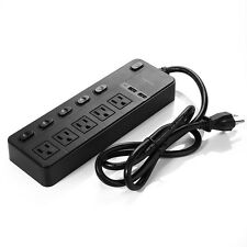Surge Protector 5-Outlet Individual Switch Power Strip with 2 USB Charging