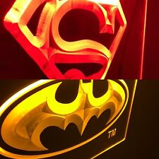 BATMAN & SUPERMAN Signal Led Neon Sign for Game Room,Office, Man Cave (2 SIGNS)