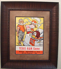 "VINTAGE TEXAS LONGHORNS FOOTBALL POSTER  FRAMED ""TEXAS VS TEXAS A & M"" 1954"