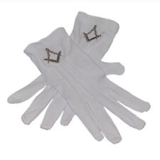 One Size White Cotton Gloves with Embroidered Silver Masonic Design