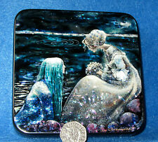 Russian HAND MADE LACQUER Box Swedish folk tale Agneta & sea king merman J Bauer