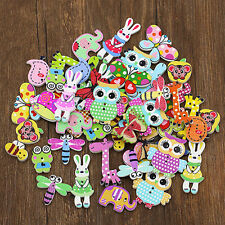 50PCS DIY Cute Mixed Animal 2 Holes Wooden Buttons Sewing Craft Scrapbooking FT