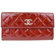 Authentic CHANEL CC Long Quilted Bifold Wallet Purse Patent Leather Red 05U522