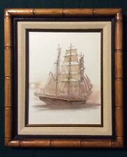 Mads Stage Sailing Ship Print Signed Dated 1981 W/ Vintage Frame
