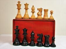 "ANTIQUE EARLY-20th C. WEIGHTED CHESS SET STAUNTON PATTERN K 3.5""+ BOX - NO BOARD"