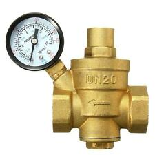 DN20 3/4'' Bspp Brass Water Pressure Reducing Valve With Gauge Flow Adjustable