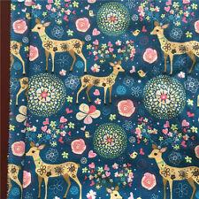 50x150cm Cotton Linen Fabric DIY Home Deco Fabric Blossom Flower Deer Blue F