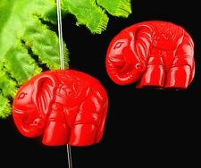 2pcs Beautiful unique cinnabar carved Elephant pendant bead BC4351