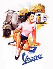 "VESPA Vintage Pinup Girl CANVAS ART PRINT 16""X 12"" Retro Scooter poster C"