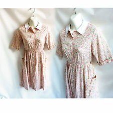 Vintage 80s Shirt Dress Size S Pink Ditsy Floral Calico Cotton Cacharel French