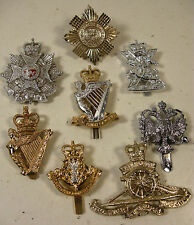 VINTAGE 1950`s EIGHT STAYBRITE  BRITISH ARMY CAP BADGES SOME SCARCE