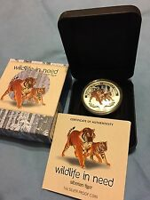 Tuvalu 2012 1$ Wildlife in Need Siberian Tiger Proof .999 1Oz Silver Coin
