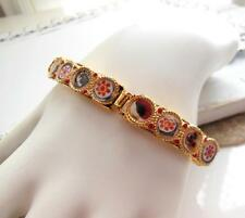 Vintage Simulated Micro Mosaic Moroccan Inspired Gold Tone Panel Bracelet ZZ22