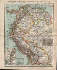 Mapa Map 1897: Columbia, Venezuela, Ecuador, Perú y Bolivia.