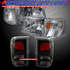 93-97 FORD RANGER EURO CLEAR STYLE HEADLIGHTS + CORNER + BLACK TAIL LIGHTS COMBO