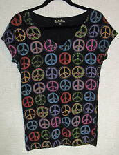 Lucky Tees 100% Cotton Cap Sleeve Printed PEACE Sign Tee Size M
