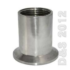 """2"""" Sanitary Female Threaded NPT Ferrule Pipe Fitting to 2.5"""" Tri Clamp  SS316"""