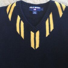RALPH LAUREN Vtg Navy & Yellow Wool V-Neck Rugby Polo Sport Sweater Men's  Sz L
