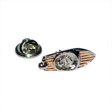 Two Tone Gold & Silver Speedboat LAPEL PIN BADGE Powerboat Boat Present Gift Box