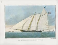 """1972 Vintage Currier & Ives YACHTING """"CLIPPER YACHT AMERICA NY"""" COLOR Lithograph"""