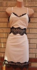 MISS GUIDED NUDE PINK LACE TRIM STRAPPY BODYCON PENCIL PARTY SEXY RARE DRESS 12
