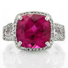 7.36 CTW GENUINE DIAMOND &CREATED PINK SAPPHIRE PLATINUM OVER 925 S. SILVER RING