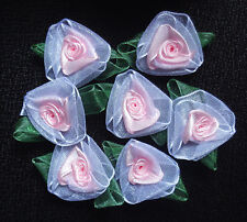 Organza Ribbon Rose, 1+1/2 x 1+1/4 inch  set of 6