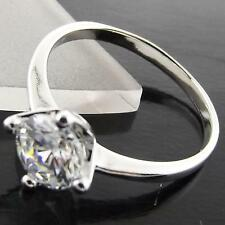 A042 GENUINE 18K WHITE G/F GOLD SOLID 1 CARAT DIAMOND SIMULATED SOLITAIRE RING