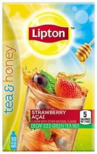 Lipton Tea and Honey Decaf Iced Green Tea To Go Packets, Strawberry Acai 10 ct 6