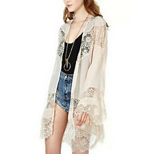 LADIES BEIGE KIMONO JACKET TOP 12-14 BOHO LACE BELL LONG SLEEVE SOFT SILKY NEW