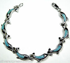 Genuine Larimar Inlay Solid 925 Sterling Silver Dolphin Link Tennis Bracelet
