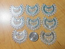 Shiny Silver Filigree Stampings Charms Findings US SELLER 8 pcs