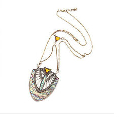 Exquiste Anthropologie Aberlina HUGE Faux Rainbow Oyster Pearl Medallion Necklac