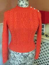 Genuine RALPH LAUREN GIRLS CHUNKY ARAN CABLE KNIT COTTON ORANGE SWEATER JUMPER L