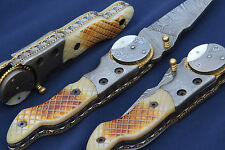 DAMAST MESSER JAGDMESSER DAMASTMESSER TASCHENMESSER DAMASCUS FOLDING KNIFE