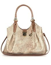 NWT Brahmin Elisa Satchel/Shoulder Bag in Latte Java. Beige/Brown with Bronze