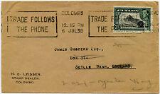 Distribuidor de sello de Ceilán 1939 leisser a Seattle 3c no selladas env.machine teléfono Lema