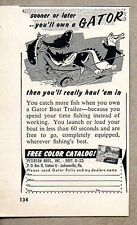 1958 Print Ad Gator Boat Trailers Peterson Bros Jacksonville,FL