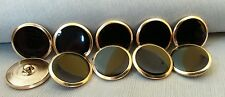 "Metal Buttons Black Enamel Gold approx 1"" UNUSED  Uncirculated Vintage Era"