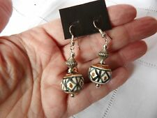 STATEMENT GREEN BROWN  HAND PAINTED & CRAFTED IN WILTSHIRE CERAMIC EARRINGS
