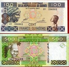 Guinea - 100 and 500 Francs - UNC currency notes