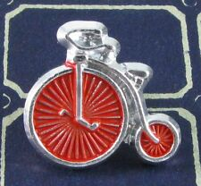 Vintage Aluminum High Wheeler Bicycle Realistic Button